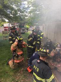 Masking up before going in as hose team, 5/15/16